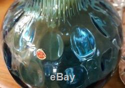 Large Blue Optic Italian Empoli Glass Vase 50cm