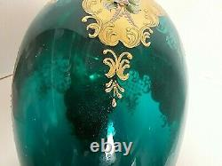 Large Bohemian Czech VASE 16 1/2'' TALL BLUE/GREEN Gold Enamel APPLIED FLOWERS