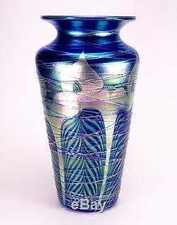 Large Carl Radke Blue Aurene Threaded Peacock Art Glass Vase