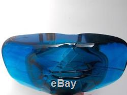 Large Early Mdina Blue Glass Fish Vase with Blue Wings by Michael Harris c. 1969
