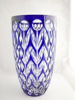 Large Faberge cobalt crystal blue tulips vase- $750 OBO
