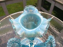 Large Fenton Blue Opalescent Glass 4 Horn Epergne Centerpiece Bowl Vase 17