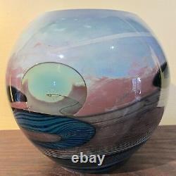Large John Lewis Signed Art Glass Moon Vase Nice Labino Chihuly