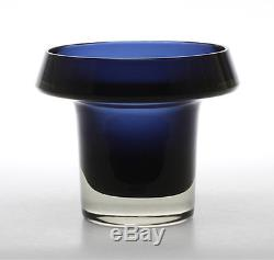 Large KAJ FRANCK ART GLASS VASE BLUE SIGNED K. FRANCK for Nuutajärvi FINLAND