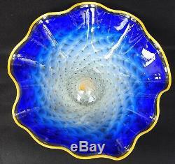 Large LaChaussee Cobalt Blue Ruffled Handkerchief Bowl Art Glass Signed 2004