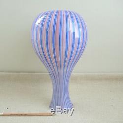 Large Murano A Canne Cased Glass Vase Dino Martens Gio Ponti Venini Style Stripe
