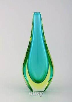 Large Murano vase in blue-green mouth blown art glass. Italian design, 1960's