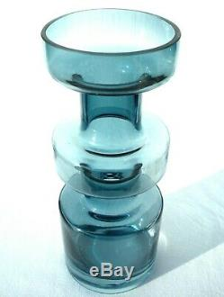 Large Riihimäen Lasi Cased Steel Blue Cog Vase 1960's/70's Tamara Aladin