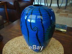 Large Satava Nautilus Vase 12.5 Blue Ex. Cond. Gorgeous
