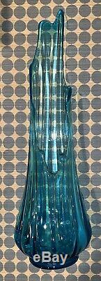 Large Tall MCM Vintage Emerald Peacock Blue 22Swung Ribbed Glass Vase Art Decor