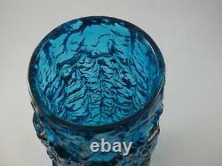 Large Whitefriars Geoffrey Baxter Kingfisher Blue Glass Bark Vase Textured 9691