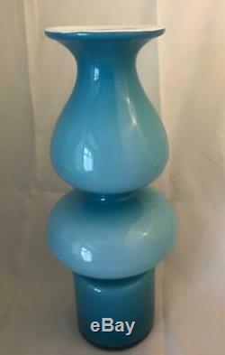 Largest 30cm Holmegaard Blue Twin Bulge Carnaby Vase by Per Lutken 1967 MCM