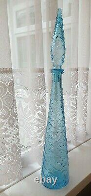 Light Blue Genie Bottle With Stopper Vase Italian