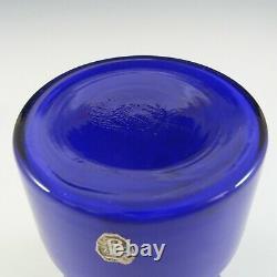 Lindshammar / JC Vintage Swedish Blue Hooped Glass Vase