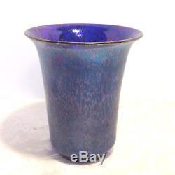 Loetz Cobalt Blue Papillion Oil Spot Iridescent 8 Vase Antique Art Deco Urn