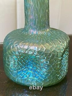 Loetz MARTELE SILBERIRIS Blue Green IRIDESCENT Antique BOHEMIAN ART GLASS Vase