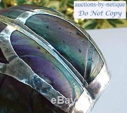 Loetz Nouveau Melon Rib Art Glass Cabinet Vase Sterling Silver Overlay Fish HM