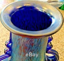 Loetz Signed Czech Bohemian Glass Papillon Iridescent Cobalt Oil Spot Vase 10.5