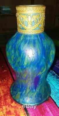 Loetz blue green oil spot iridescent vase with bronze ormolu collar 7