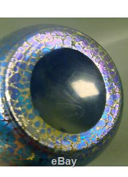 Loetz/czech Blue Oil Spot Tri Corner Top Vase