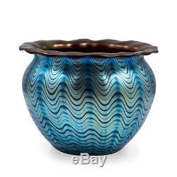 Loetz, early Vase Decor Cobalt Phenomen Gr 6893 with red undercoating, ca 1899