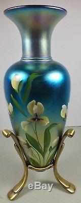 Lovely Fenton Glass Blue Favrene Favrille 13 Vase Hand Painted, Signed T Neader