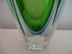 Lovely Mid Century Large Heavy Murano Sommerso Glass Vase Green/Blue