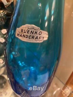 Lovely Vintage Blenko Glass Vase Sapphire Blue 11 Tall Foil Sticker Fish Lips