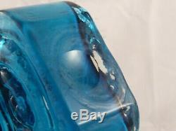 Lovely Whitefriars Kingfisher Blue Cello Glass Vase Geoffrey Baxter