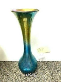 Lundberg Studios Art Glass Tall Neck Blue/Gold Gourd Vase 10 1/2 #8