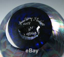 Lundberg Studios Art Glass Vase Blue Iridescent