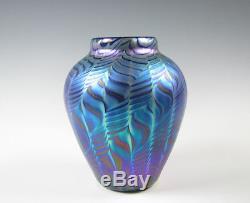 Lundberg Studios Blue Iridescent Art Glass Vase