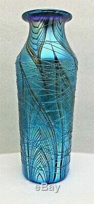 Lundberg Studios Iridescent Art Glass Threaded Vase-blues/ Green/ Violet-signed