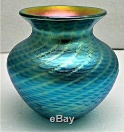 Lundberg Studios Iridescent Blue Aurene Art Glass Cabinet Vase-signed-dated 2003