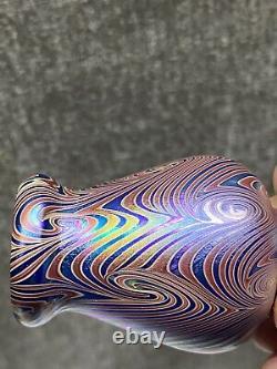 Lundberg Studios Iridescent Purple Pulled Feather Mini Cabinet Art Glass Vase