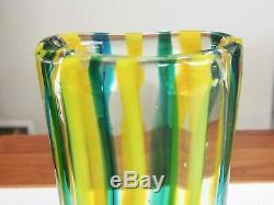 MCM Fratelli Toso Green Blue Yellow Italian Glass Vase