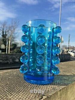 MID Century 70s Czech Sklo Union Rosice 5135 Blue Knobbly Glass Vase Pavel Panek