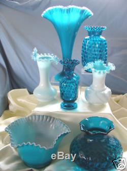 MNT+PERFVINTAGE50sFENTON GLASSSILVER JAMESTOWN BLUE OVERLAY13FANVASEONLY