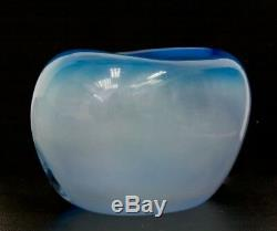 MURANO Fish Aquarium Italian Blue Art Glass Signed Sculpture/Vase, Apr 6Hx8.5W