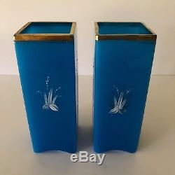 Magnificent Pair Of Baccarat Azure Blue Opaline And Enamel Crane Vases