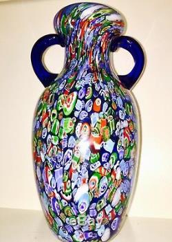 Magnum MCM Murano Art Glass Millefiori Vase 13.5 T 6.10 Lbs