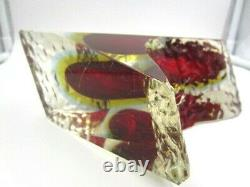 Mandruzzato textured & facet cut Murano red amber blue sommerso Ice glass vase