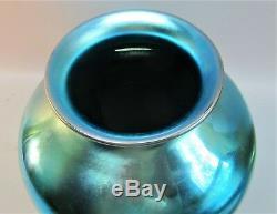 Massive 10 STEUBEN BLUE AURENE Art Glass Vase Superb Color! C. 1915 antique