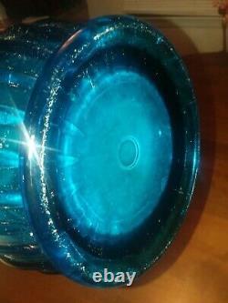 Massive Vintage L E Smith Glass Swung Vase Blue Huge 30 Viking