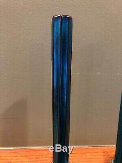 Matching Pair c. 1910 Tiffany Studios Favrile Blue Glass Bud Vases w Bronze Bases