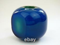 Mdina Early blue glass facet cut Inside Out vase Malta Michael Harris 70s