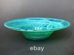 Mdina Early blue green & yellow glass Charger Michael Harris Malta 70s