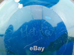 Mdina Ming large blue & green glass bottle vase Malta signed 70s Michael Harris