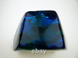 Mdina Tiger pattern glass Fish vase with blue wings signed 70s Malta Dobson