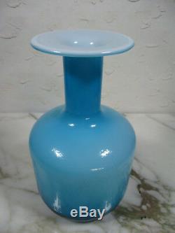 Mid Century 60's Holmegaard Otto Brauer Blue Cased Glass Vase Kastrup